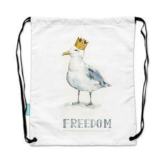 插畫 微光分子【 束口袋背包】 自由鳥