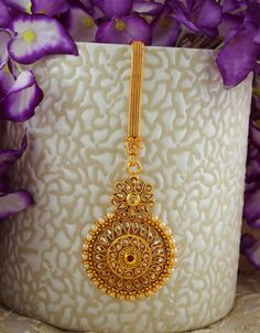 Buy Designer Gold Finish Styled With Pearls Beads Fancy Challa Online Tika Jewelry, Waist Jewelry, Jewelry Design Earrings, Gold Earrings Designs, Gold Jewellery Design, Indian Jewelry, Bridal Jewelry, Jewelry Art, Fashion Jewelry