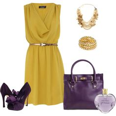 I thought that this yellow chiffon dress goes nice with the eggplant color.