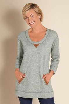 The Weekender - Terry Pullover, Cotton Pullover Top, Heathered Pullover   Soft Surroundings