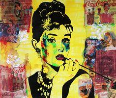 """ART Portrait Audrey HEPBURN Coca-Cola Mixed Media on Panel Acrylic Painting Black & Colors Collections Modern 30""""x36"""" By Kathleen Artist PRO de la boutique KathleenArtistPro sur Etsy"""