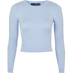TOPSHOP PETITE Travelling Rib Crop Top ($45) ❤ liked on Polyvore featuring tops, sweaters, crop tops, shirts, blue, petite, petite tops, round neck sweater, topshop and petite jumpers