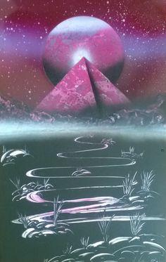 PINK PYRAMID Spray Paint Art 28cmX44cm by AlonSelaSprayPaint