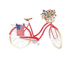 Patriotic Beach Cruiser Bicycle Fine Art Watercolor Print Red White Blue Fourth of July Americana Watercolor Artwork, Watercolor Print, Watercolor Ideas, Flag Painting, Bicycle Painting, Cycling Art, Cycling Quotes, Cycling Jerseys, Cruiser Bicycle