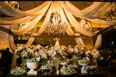 Mesa de doces para casamento - Doces expostos em porcelana - Decoração Daniel Cruz - Foto Anderson Marcello