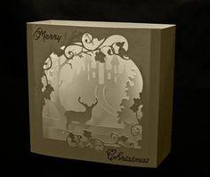 3D Deer Scene Box card or room decoration DIGITAL download svg pdf cricut studio