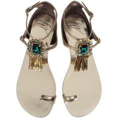 Sandals Women ($648) ❤ liked on Polyvore featuring shoes, sandals, flats, sapatos, scarpe, flat shoes, fringe flats sandals, embellished shoes, fringe shoes and fringe sandals