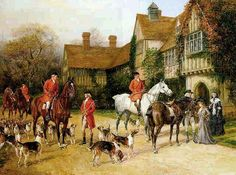 I miss my (parents') Red Coat prints and my plaid. (The Meet at the Manor by Heywood Hardy) Hunting Painting, Hunting Art, Fox Hunting, Victorian Paintings, English Cottage Style, Gustave Courbet, Art Society, Classical Art, Horse Art