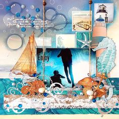 Scrapperlicious: Enjoy Today Layout by Irene Tan using BoBunny Boardwalk collection, glitter paste, glimmer spray, pearlescent, jewels