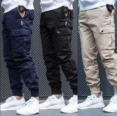 Mens Skinny Pants Cargo Jogger Overalls Harem Trouser Tapered Casual Cotton New Swag Outfits Men, Stylish Mens Outfits, Sport Outfits, Mode Streetwear, Streetwear Fashion, Cargo Pants Men, Pants For Men, Cargo Joggers Mens, Cargo Pants Outfit Men