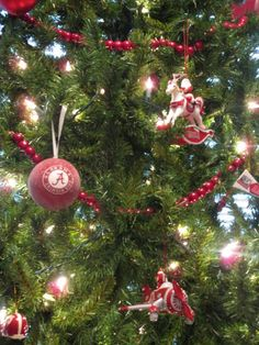 Alabama Crimson Tide Ornaments ~ we had an Alabama tree the first year my daughter was at the University of Alabama!  Now she has my ornaments...