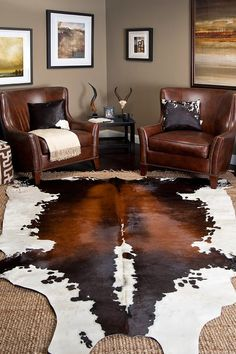 Feeling bored with the rigidity of your current living room design? Learn more on how to create a Bohemian-styled interior to 'spice up' your living room. Western Living Rooms, Boho Chic Living Room, Rugs In Living Room, Living Room Designs, Living Room Decor, Western Style, Cowhide Decor, Cowhide Rugs, Cowhide Leather