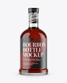 Clear Glass Bottle With Bourbon Mockup (Preview)
