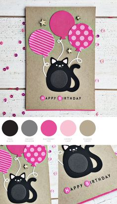 Birthday Cat by Heather Nichols for Papertrey Ink Kids Birthday Cards, Handmade Birthday Cards, Cat Cards, Kids Cards, Karten Diy, Animal Cards, Paper Cards, Creative Cards, Scrapbook Cards