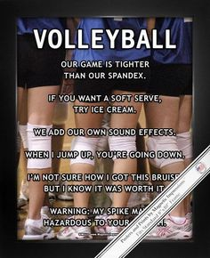 """Volleyball Huddle Poster Print is full of attitude! """"Warning: My spike may be hazardous to your health,"""" is just one of the sassy and inspirational quotes on this poster. Funny quotes and a girl's tea"""