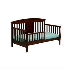 DaVinci Elizabeth II Convertible Wood  Toddler Bed in Espresso - The versatile Elizabeth II Toddler Bed from DaVinci utilizes a standard-size crib mattress and can be converted into a full-size bed with rails that are sold separately. Features: Proper and first transition from the crib before moving to a twin or full size slat bed. Converts to a full size bed with full size bed rail kit (sold separately) Uses the same standard crib size mattress that you used on your crib.