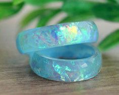 Trendy Luxury Jewelry : Blue opal ring for women wedding promise bohemian unique rings resin statement cute unusual big size holographic eco jewelry Simple Wedding Bands, Wedding Rings For Women, Trendy Wedding, Resin Ring, Resin Jewelry, Fine Jewelry, Jewelry Rings, Metal Ring, Jewellery Box