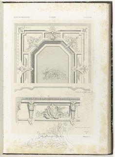 Plafond met detail, twee ornamenten, Anonymous, Etablissement Lithographique De Charles Claesen, c. 1866 - c. 1900