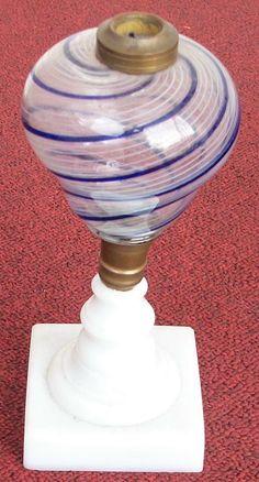 BEAUTIFUL 19TH CENTURY BOSTON & SANDWICH LATTICINO FONT OIL/WHALE OIL LAMP LOOK