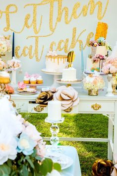 Soft periwinkle & gold dessert table from a Marie Antoinette Inspired Bridal Shower on Kara's Party Ideas | KarasPartyIdeas.com (8)