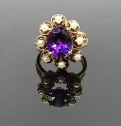 Unique Vintage Amethyst and Pearl Halo Cocktail Ring