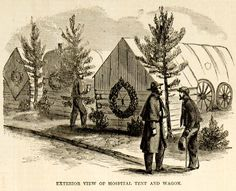 This is an original 1865 black and white in-text wood engraving of a Union Army hospital tent and wagon at the Siege of Petersburg, Virginia during the American Civil War. CONDITION This year old American Civil War, American History, Medical Billing, Medical Care, Siege Of Petersburg, Confederate States Of America, Union Army, Wood Engraving, Civilization