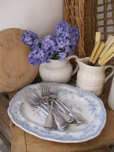 Antique blue & white platter and silver plate forks from Lavender House Vintage