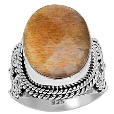 Orchid Jewelry 925 Sterling Silver 12 Carat Sunstone Gemstone Ring (925 Silver-Sunstone-Size 7), Women's, Yellow