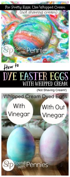 How to dye Eggs With Whipped Cream (Not shaving cream!)  #Easter This is a better alternative to shaving cream Easter eggs leaving the eggs edible! Easter Dinner, Easter Party, Easter 2018, Easter Activities, Easter Games, Holiday Activities, Fun Activities, Egg Coloring, Coloring Easter Eggs