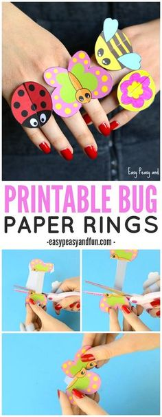 Printable Bug Paper Rings for Kids to Make | Via Easy Peasy and Fun