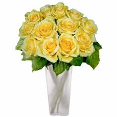 These bright 12 Yellow Roses will bring a smile to their face. Your selection includes 12 Yellow Premium Long Stem Roses (approximately 22 - 24 inches long) accented with greenery and Baby's Breath. Also included are a quality message card floral