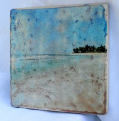 "Ceramic Tile Handmade Photo Transfer Art - 6""x6"" Sunset Beach Oahu Hawaii Original Photo Art"
