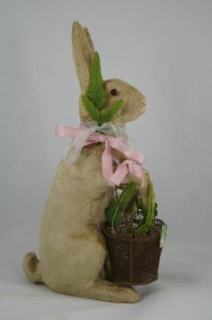 """Absolutely Spectacular 1930s 11"""" Flocked Ceramic Easter Bunny Standing with Bucket 