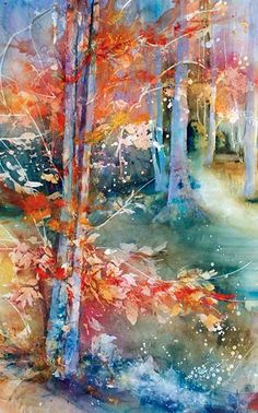the path - watercolor forest scene