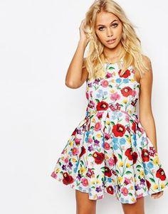 Jaded London Crochet Floral Scuba Dress