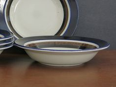 Vintage Arabia Finland Saara Cereal Bowl - Scandinavian Mid Century - Anja Jaatinen-Winquist - Arabia Finland - 5 Available at Eight Mile Vintage on Etsy Etsy Vintage, Vintage Items, Blue Band, Cereal Bowls, Scandinavian Style, Finland, 1970s, I Shop, Mid Century