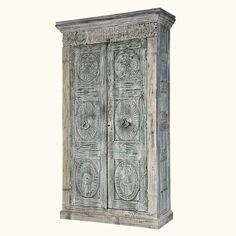 """Invite regal elegance into your home with our stunning Elizabethan Winter 89"""" Wardrobe.  This large double door armoire opens onto a large four shelf storage space.  This freestanding closet stands on a simple frame base."""