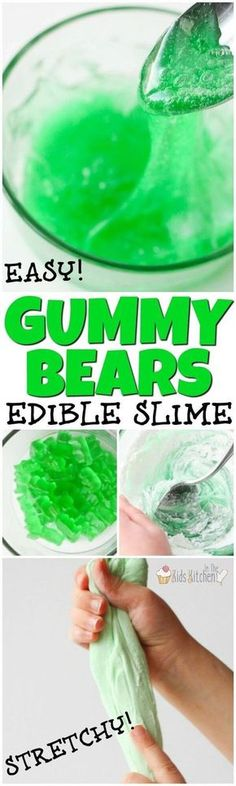Edible Gummy Bear Slime (Only 3 Ingredients!) Ooey, gooey, stretchy, and squishy - kids will go wild over this awesome edible slime recipe made from. Safe sensory play for all ages! Edible Slime, Diy Slime, Homemade Slime, Food Slime, Slime Craft, Edible Crafts, Fun Crafts, Cool Crafts For Kids, Bear Crafts