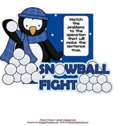 Here's a winter themed set of cards where students must determine the operation that makes the sentence true. Includes addition, subtraction, multiplication, and division.