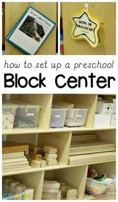Ideas and tips for setting up a kindergarten or preschool block center Ideas for organizing and stocking a preschool block center. Ideas can be used for kindergarten and homeschool block centers too! Block Center Preschool, Preschool Set Up, Preschool Classroom Setup, Preschool Rooms, Kindergarten Centers, Preschool Lesson Plans, Classroom Design, Preschool Learning, Learning Centers