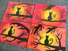 – Page 189291990576064452 – SkillOfKing. Halloween Kunst, Halloween Painting, Halloween Arts And Crafts, Halloween Projects, Art Plastique Halloween, October Art, Fall Art Projects, Adornos Halloween, 4th Grade Art