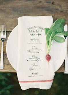 menu printed on a napkin. Smart way to save money on menus! Just make the napkins washable Wedding Menu, Wedding Table, Wedding Reception, Wedding Ideas, Wedding Foods, Wedding Catering, Wedding Pictures, Menu Printing, Screen Printing