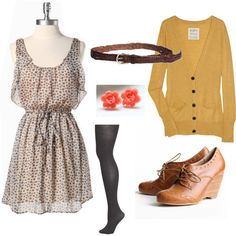 Hmm just need some tights and a fun colored boyfriend sweater//gimme it. Well maybe not the boots. Casual Fall Outfits, Cute Outfits, Mustard Cardigan, Work Attire, Outfit Work, Autumn Winter Fashion, Fall Fashion, Love Fashion, What To Wear