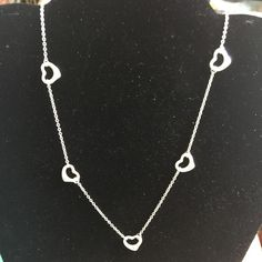 Tiffany necklace sterling silver Elsa Peretti open heart necklace.  Can be worn as a choker or necklace Tiffany & Co. Jewelry Necklaces