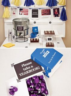 Cute cardboard box 'yearbooks' filled with chocolate kisses make the perfect graduation party favor!