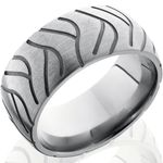 Feed your need for speed when you rev this Super Cycle Tread Ring! How can a ring be fast? Ask the bland old-fashioned rings coughing on this sleek street rider's exhaust! This ultimate Super Cycle Tire Ring is a fashionable misfit for the 21st century that features an aerodynamic dome profile and aircraft grade titanium construction. That's right