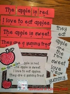 Check out this informational post demonstrating how to develop a concept of word with emergent readers. Includes video modeling and a free COW poem to print and use. Emergent Literacy, Emergent Readers, Kindergarten Literacy, Literacy Centers, Apple Activities, Teaching Activities, Teaching Ideas, Primary Teaching, Student Teaching