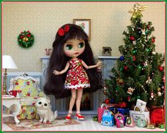 Merry Christmas Blythe doll - photo by Debby Emerson