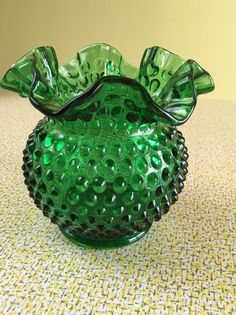 Fenton Hobnail Vase Emerald Green Glass by TopSpecialVintage