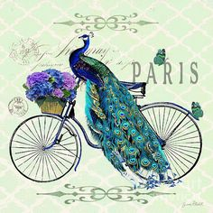 Peacock On Bicyle-jp2559 Print By Jean Plout